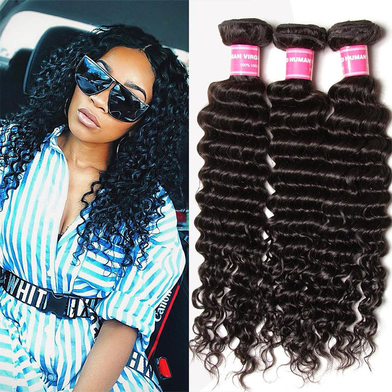 YIROO 7A Malaysian Deep Wave 3 Bundles ,Unprocessed 100% Human Hair For Sell