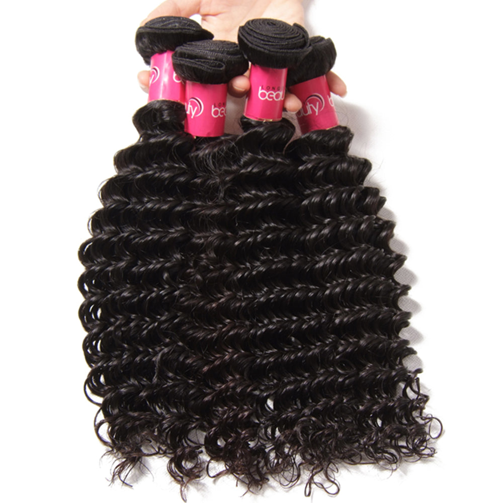 YIROO 7A Brazilian Deep Wave  Hair 4 Bundles,100% Virgin Human Hair Weave,Thick Bomb Hairs
