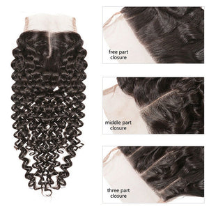 YIROO 7a Malaysian Curly Hair 3 Bundles With 4*4 Lace Closure 100% Virgin Human Hair Extensions