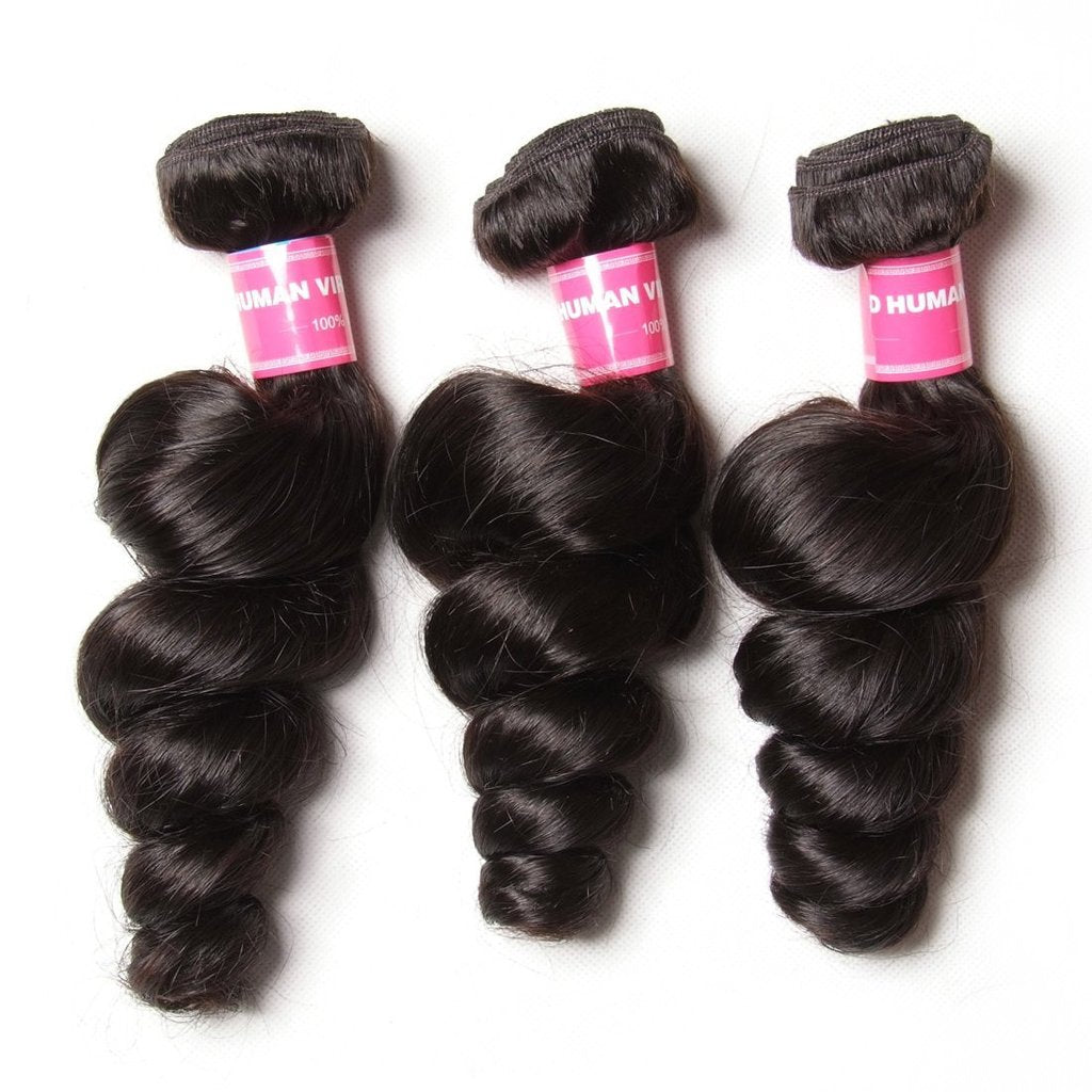 YIROO Malaysian Loose Wave Hair Bundles 3piecs,100% Virgin Human Hair Wefts