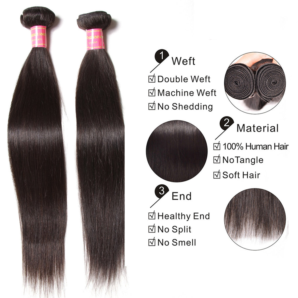 YIROO 7a Brazilian Straight Hair 3 Bundles, 100% Virgin Human Hair Weave Natural Color