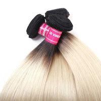 Straight Hair Ombre Color T1B/613 Hair Weave 1 Bundles, 2 Tone Color Virgin Human Hair Weave-Yiroo Hair