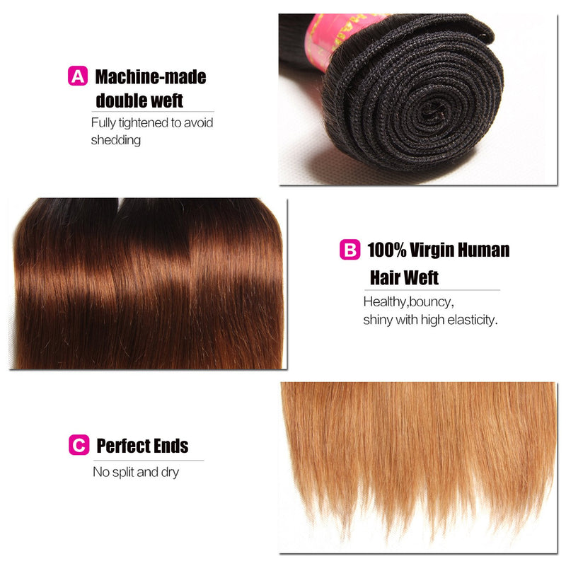 Brazilian Hair Ombre T1b/4/27 Straight Hair Weave 4 Bundles Unprocessed Virgin Human Hair Extensions Yiroo Hair