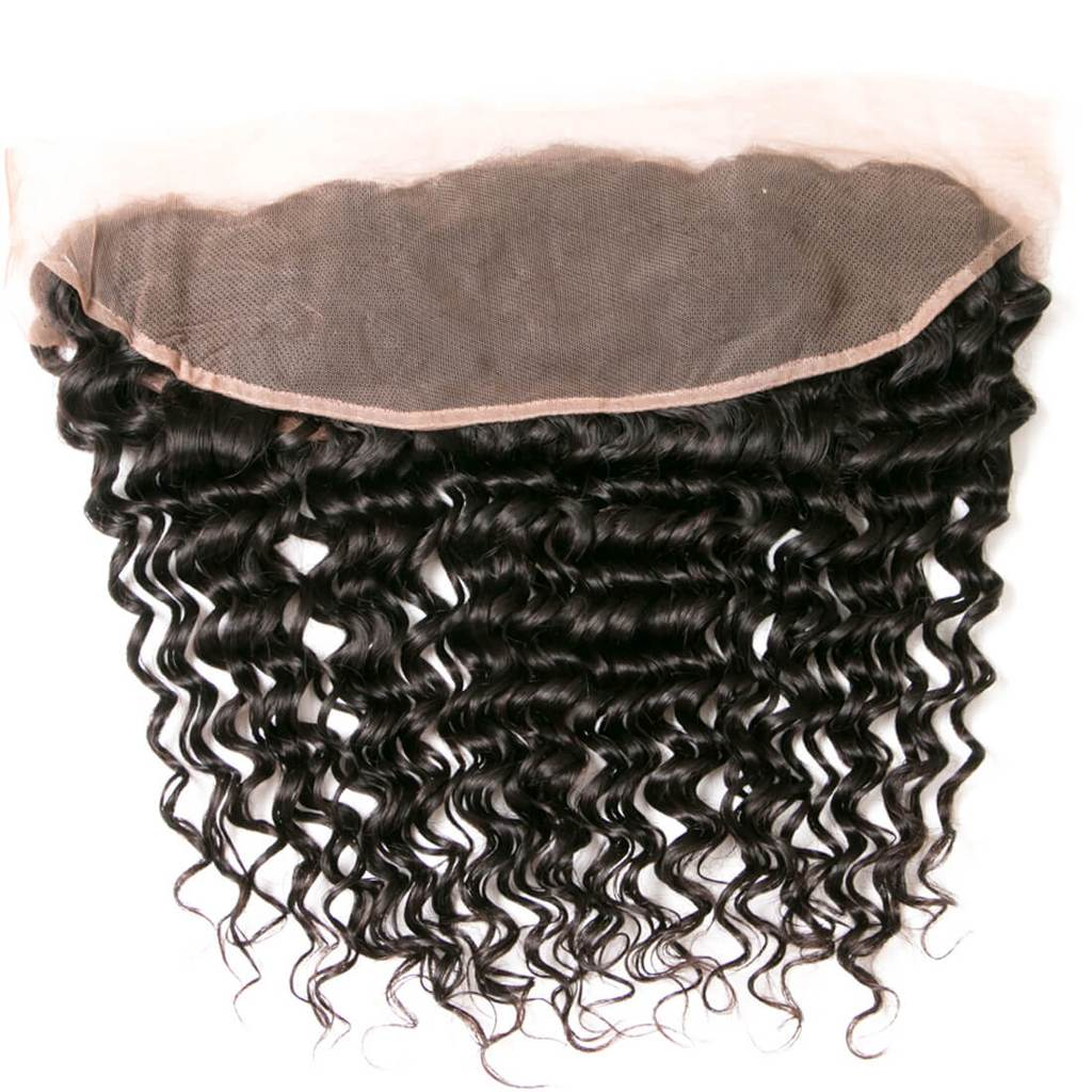 YIROO 1pcs Deep Wave 13*4 Lace Frontal Malaysian/ Brazilian Human Virgin Hair