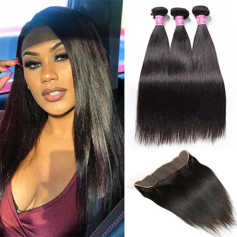 "YIROO 7a Malaysian Straight Virgin Hair 3 Bundles with 13*4"" Frontal,100% Unprocessed Human Hair"