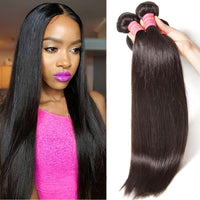 YIROO 7a Peruvian Straight Hair 3 Bundles, 100% Virgin Human Hair Weave Natural Color
