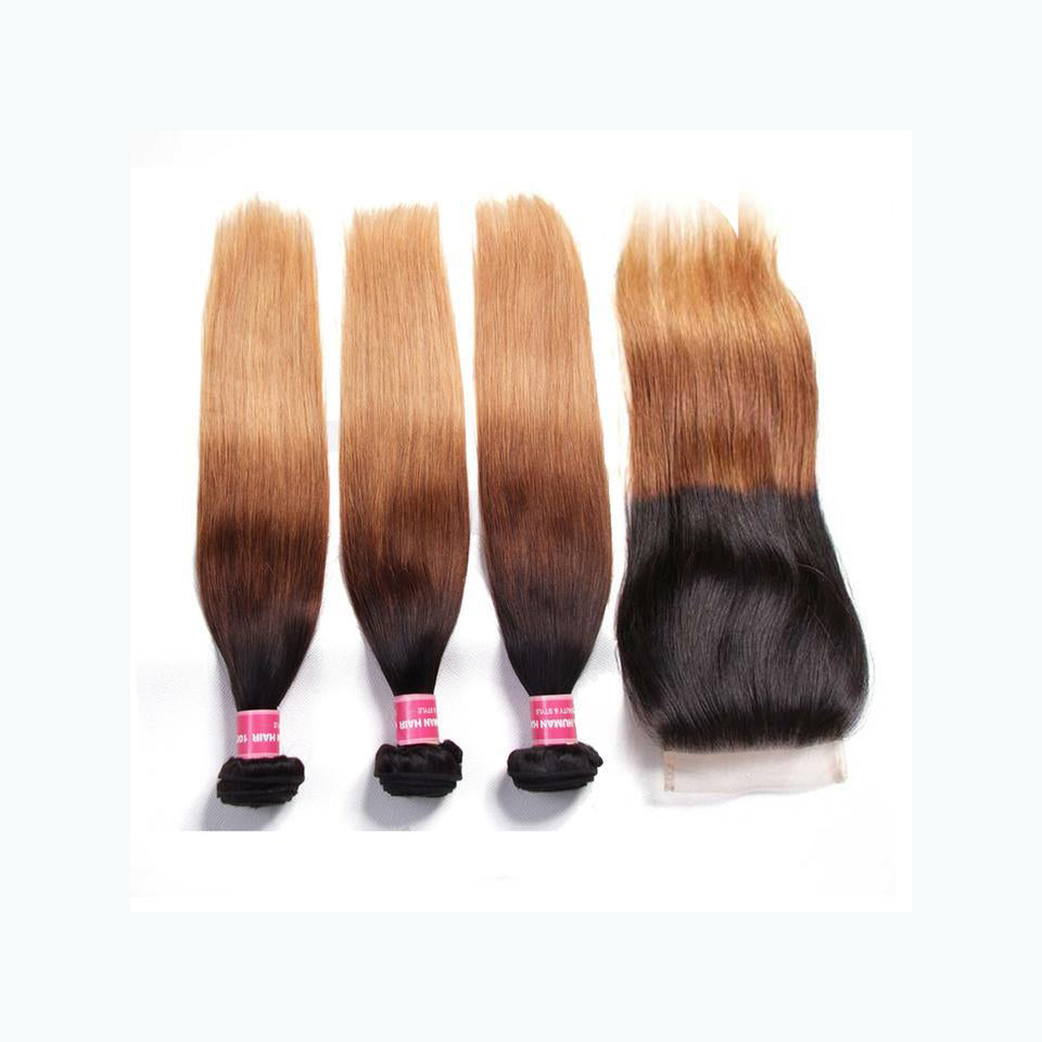 Ombre T1B/4/27 Brazilian Straight Hair Weave 3 Bundles with 4x4 Lace Closure Virgin Human Hair-Yiroo Hair