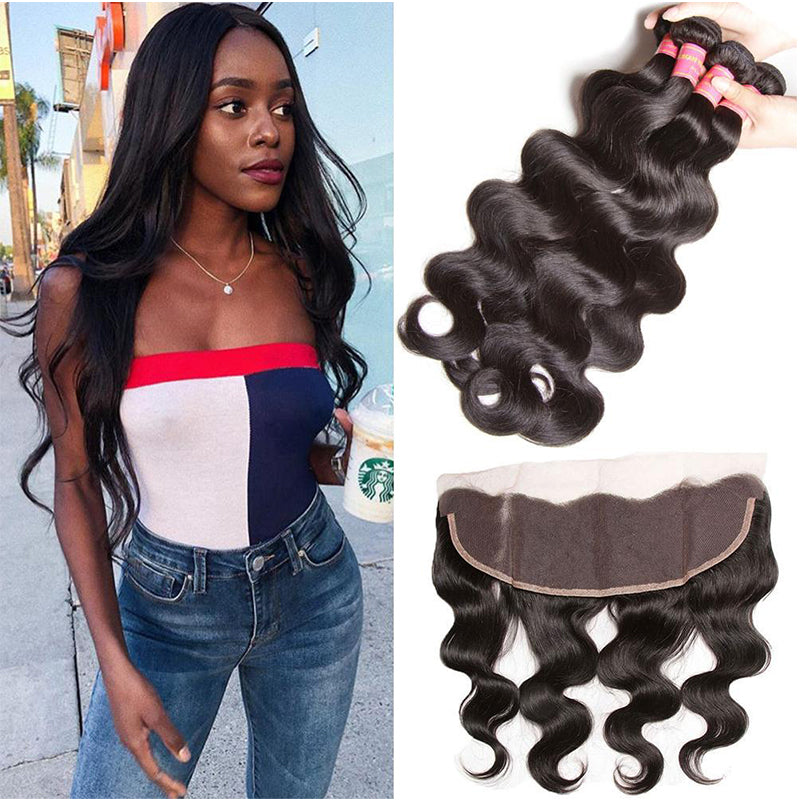 YIROO 7A Malaysian Body Wave 3 Bundles with 13*4 Frontal,100% Unprocessed Virgin Human Hair Free Shipping