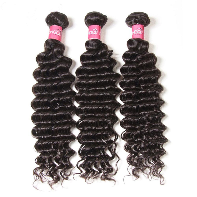 YIROO Peruvian Deep Wave Bundles of Hair 3pcs/lot Virgin Hair 12-26 Inch Natural Human Hair Free Shipping