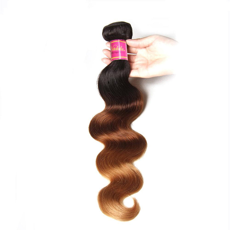 Yiroo Hair Ombre Hair Brazilian Body Wave Ombre Hair T1B/4/27 3 Tone Remy Human Hair Weft 16-26 Inch