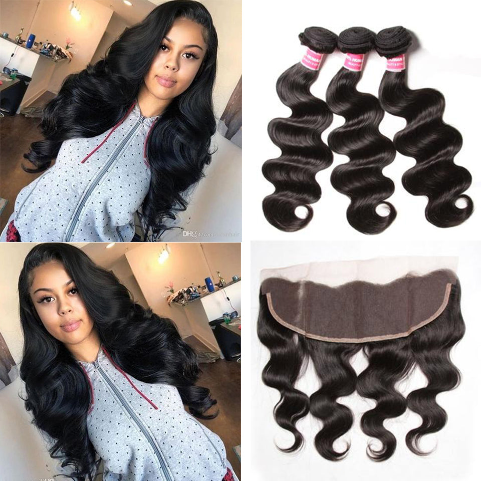 YIROO 7A Brazilian Body Wave 3 Bundles Virgin Human Hair Bundles With 13X4 Frontal Lace Closure Free Part