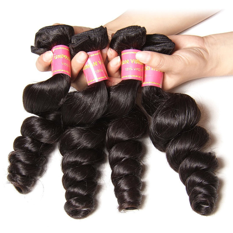 YIROO Peruvian Loose Wave Virgin Hair Weft 4pcs/pack 100% Human Hair Bundles