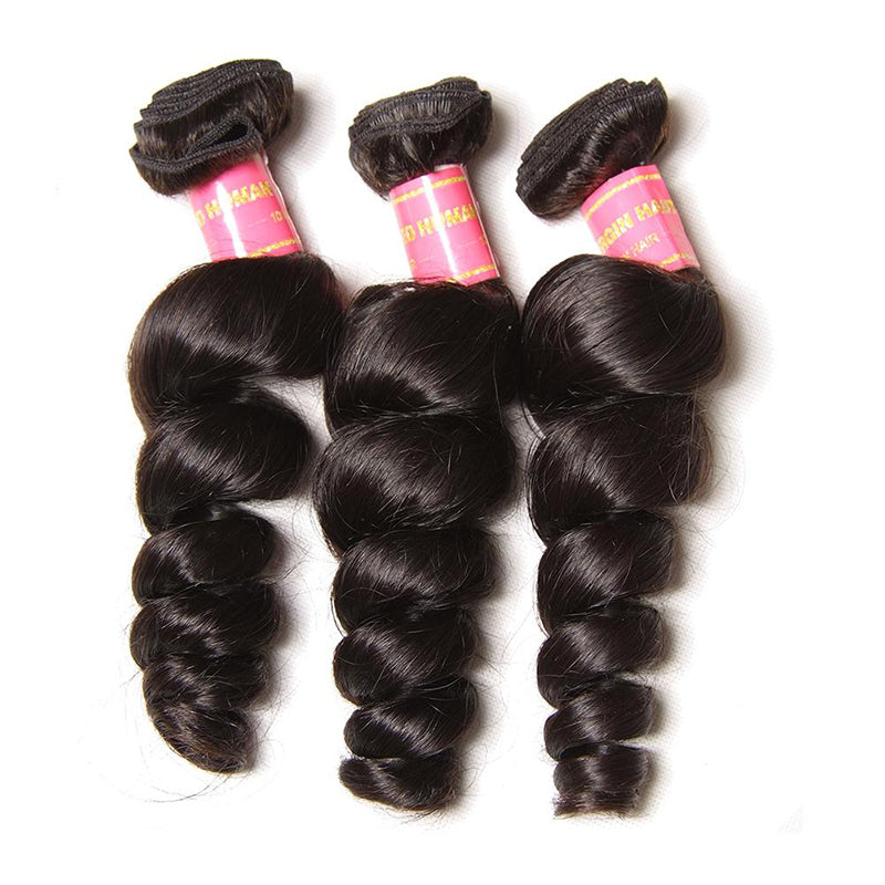 YIROO Brazilian Loose Wave 3 Bundles,7A Unprocessed Human Virgin Hair