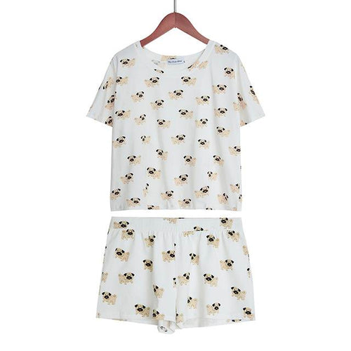 Pug Pattern Dog Women Pajamas (Top & Shorts) - boopetclub