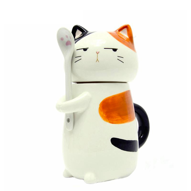 Cat Ceramic Coffee Mug with Spoon - boopetclub