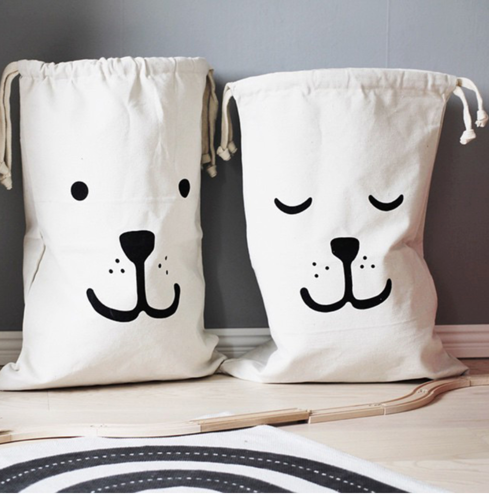 Bear Dog Canvas Toys Storage Bags Canvas Laundry Basket Bag Home Organizer - boopetclub