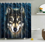 Wolf Shower Curtain, Dog Animal Bathroom Decor