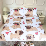 Cute Pug Puppy Dog Bedding Set (3 Pieces) - boopetclub