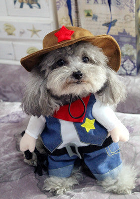 Cowboy Pet Costume, Dog and Cat Clothes, Dog Halloween Costume - boopetclub