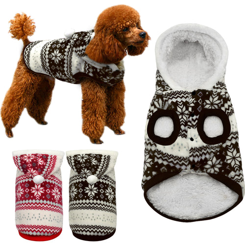 Snowflake Winter Pet Hoodie, Dog and Cat Clothes
