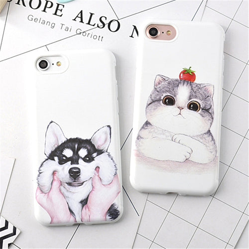 Siberian Husky / Cat Rubber Silicone iPhone Case - boopetclub