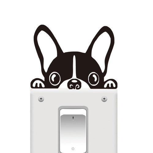 French Bulldog Dog Puppy Light Switch Decor Vinyl Wall Sticker, Decal - boopetclub