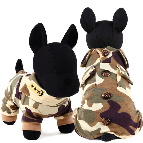 Military Uniform Pet Jumpsuits Dog and Dog Clothes - boopetclub