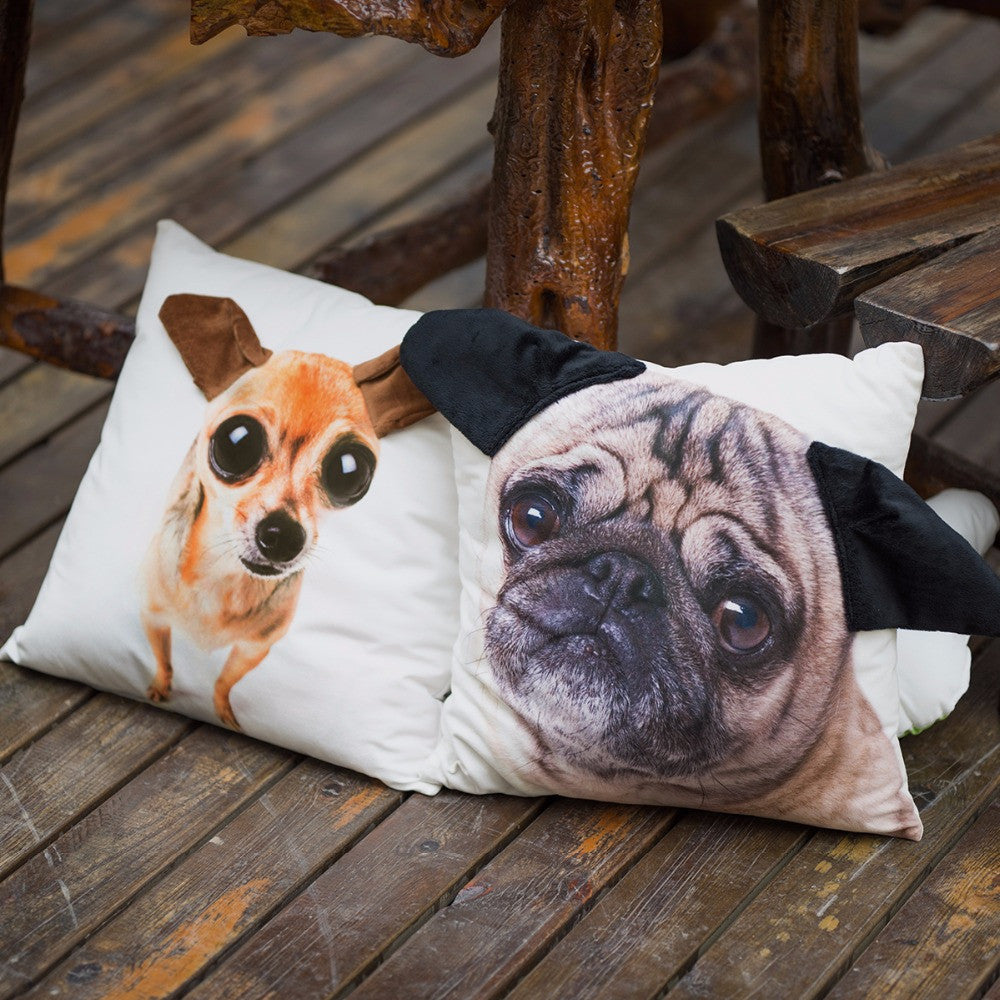 Pug with Ears Dog Pillow Case, Cover - boopetclub