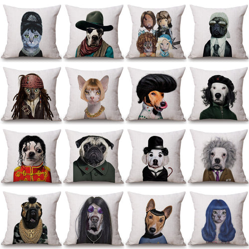 Hipster Dog Pillow Case Pitbull Pug Chihuahua Cat - boopetclub
