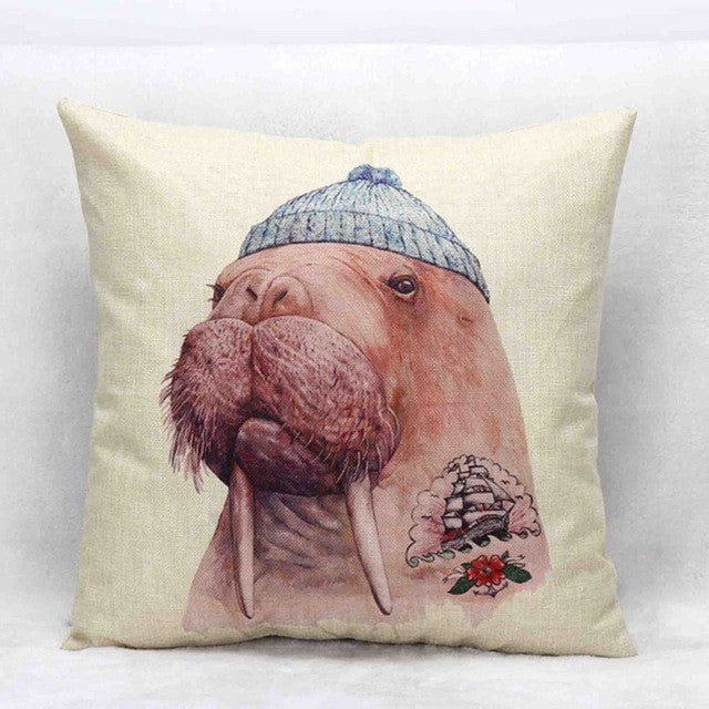 Vintage Animal Linen Pillow Cover Cushion Case - boopetclub