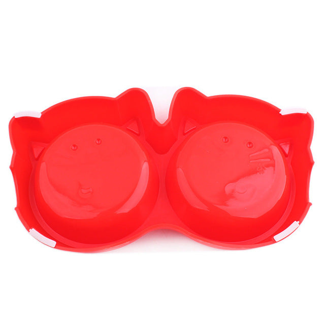 Cat Face Double Pet Bowl - boopetclub