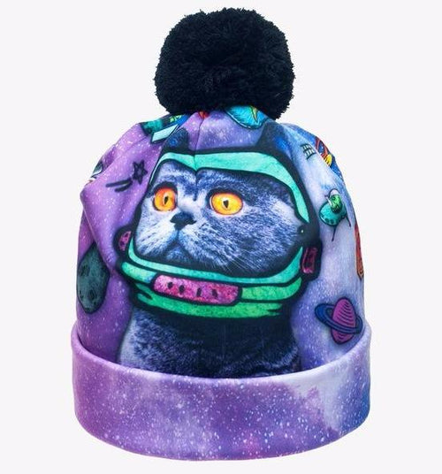 Galaxy Cat Winter Beanie Pom Pom Hat - boopetclub