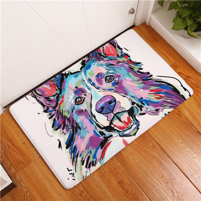 Border Collie Dog Print Floor Mat, Front Door Mats - boopetclub