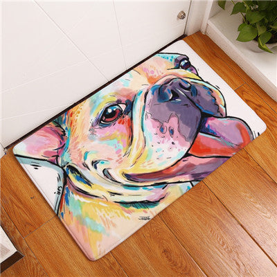 French Bulldog Frenchie Dog Print Floor Mat, Front Door Mats - boopetclub