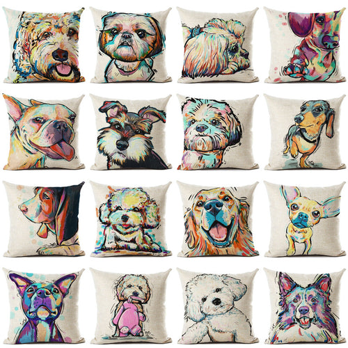 Golden Bulldog Dachshund Beagle Frenchie Doodle Dog Cushion Pillowcase - boopetclub