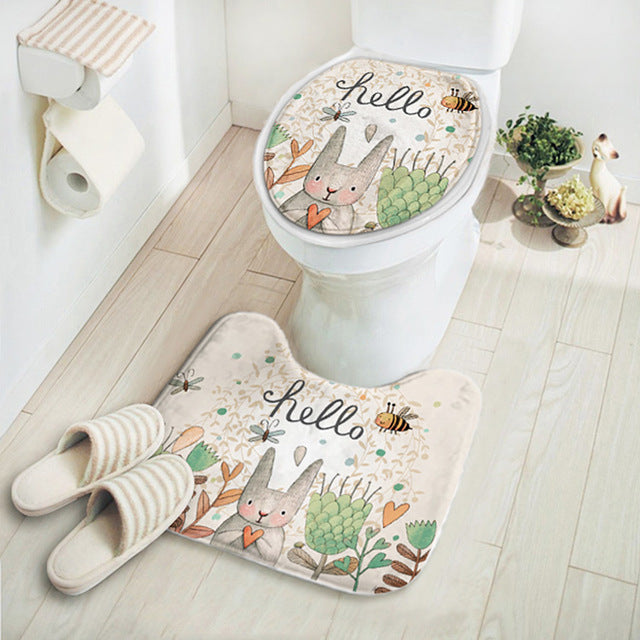 2 Pieces/Set Rabbit Toilet Set-Carpet and Lid Cover - boopetclub