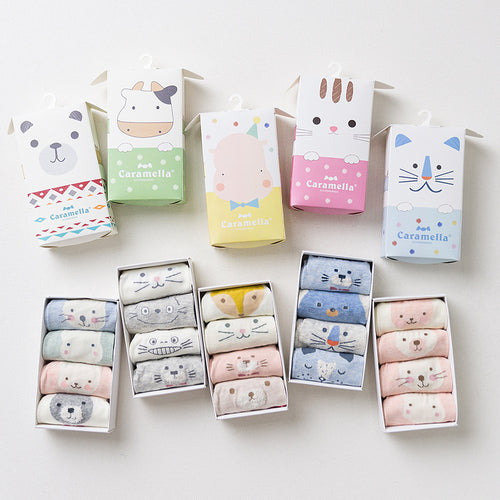 Cute Animal Cotton Socks - 4 Pairs/Box - boopetclub