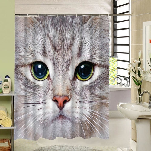 Cat Shower Curtain, Animal Bathroom Decor - boopetclub