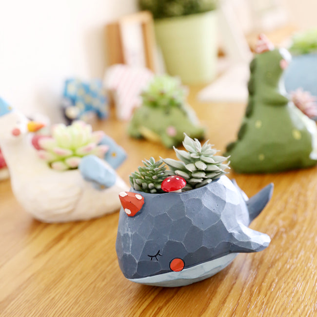 1 Piece Animal Resin Plant Flower Pot Home Decor - Whale Dinosaur Crocodile Goose Elephant - boopetclub