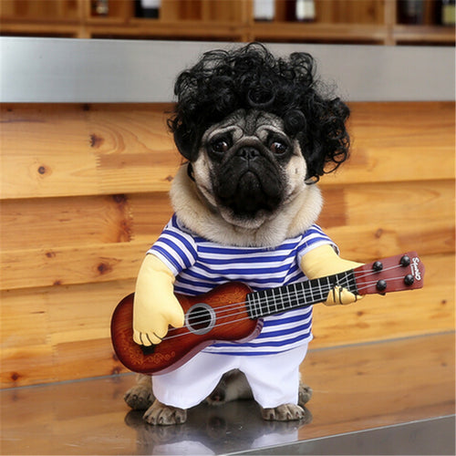 Funny Guitar Player Cosplay Pet Costume Dog and Cat Halloween Clothes - boopetclub