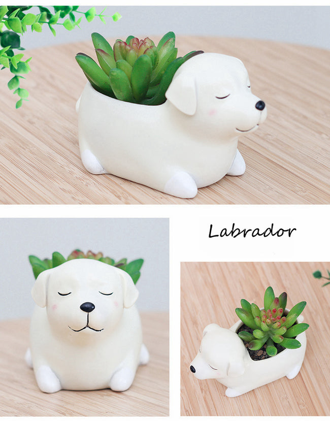 Labrador Retriever Dog Resin Flower Pot - boopetclub
