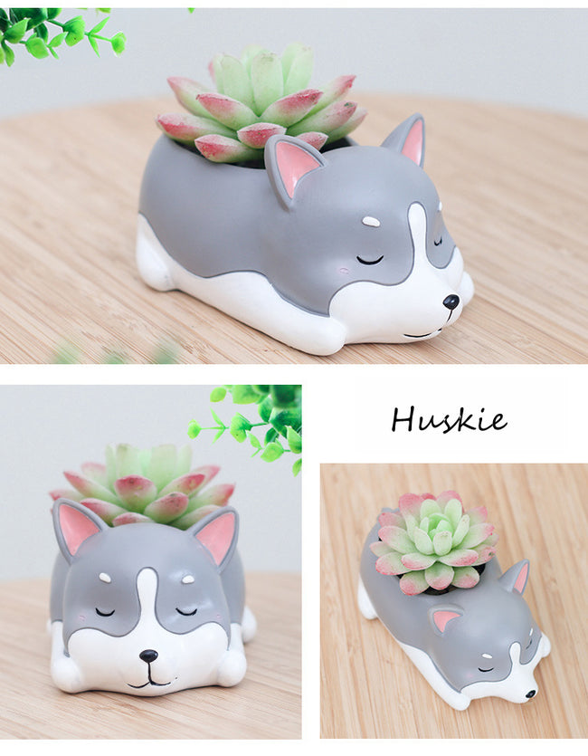 Siberian Husky Dog Resin Flower Pot - boopetclub