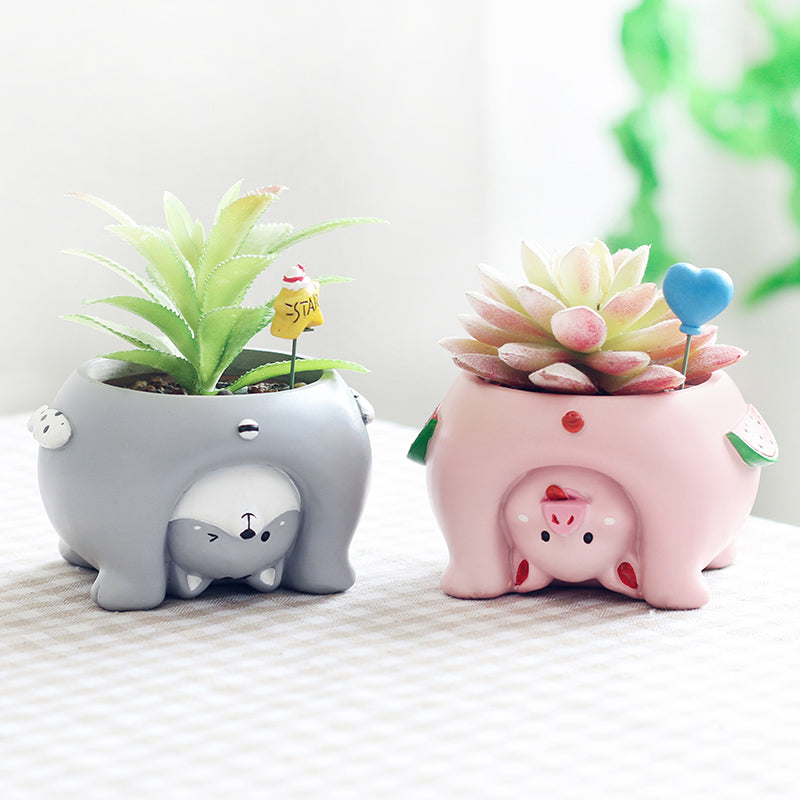 1 piece Upside Down Animal Resin Plant Flower Pot Home Decor - Pig Dog Bear Cat - boopetclub