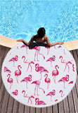 Flamingo Animal Microfiber Round Beach Blanket Towel, Wall Tapestry - boopetclub