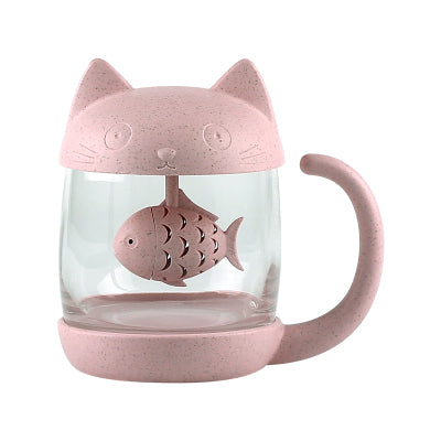 Cat Tea Mug Tea Infuser Glass - boopetclub