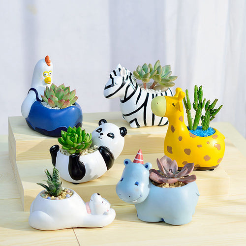 1 Piece Animal Resin Plant Flower Pot Home Decor - Bear Panda Zebra Giraffe Hippo Chicken - boopetclub