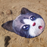 Cat Microfiber Round Beach Blanket Towel, Wall Tapestry - boopetclub