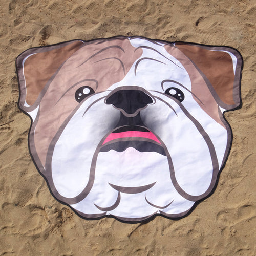 Bulldog Dog Microfiber Round Beach Blanket Towel, Wall Tapestry - boopetclub