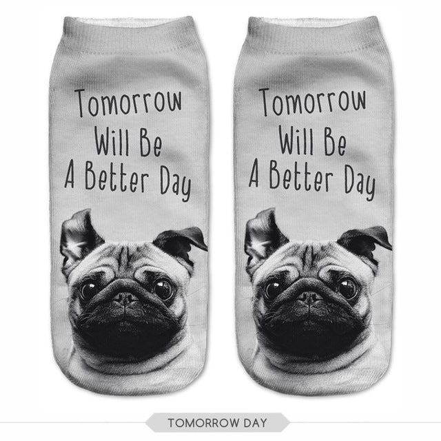 Tomorrow will be a better day Pug Dog Women Socks - boopetclub