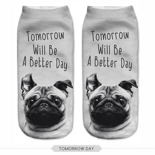Tomorrow will be a better day Pug Dog Women Socks
